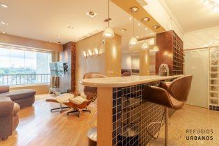 Brooklin, apartamento com 45 m2, 1 quarto, varanda integrada, cozinha americana, 1 vaga. Prédio com Piscina.