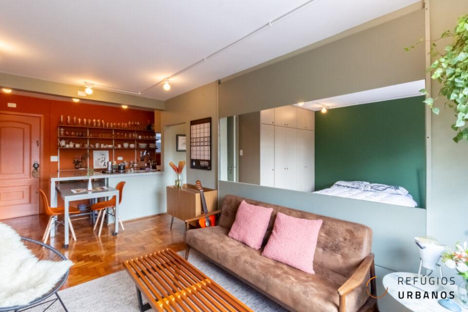 Apartamento reformado com 50m², um quarto, sem vaga, a apenas 5 minutos de caminhada da estação Faria Lima do metrô!