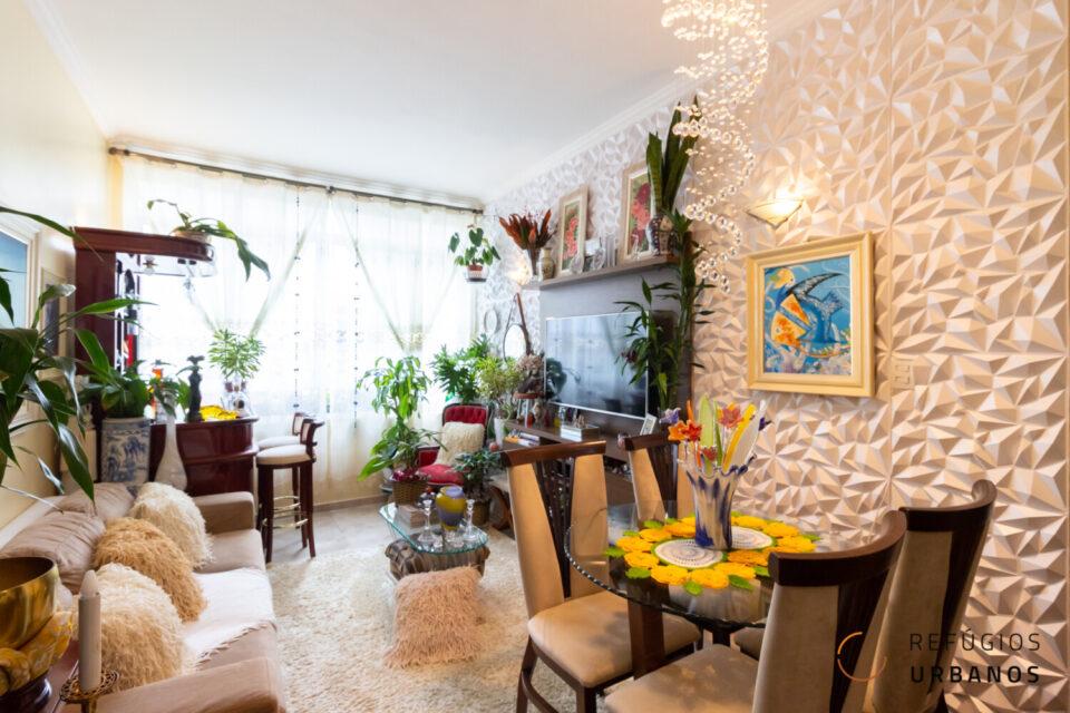 Apartamento de dois dormitórios da Vila Buarque, com 82,24m² no icônico edifício Nova Ipiranga de Abelardo Reidy de Souza.