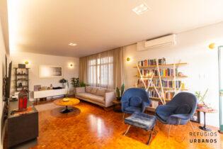 Uma varanda voltada para o pôr do sol, em apartamento muito instagramável, com 2 dormitórios e incríveis 133m2 nos Campos Eliseos.