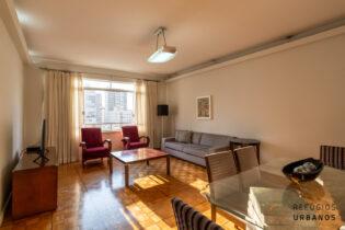 Em Santa Cecilia apartamento com 167 m2 em andar alto, cercado de vista livre por todos os lados, sala ampla, 3 quartos sendo uma suíte e 1 vaga.