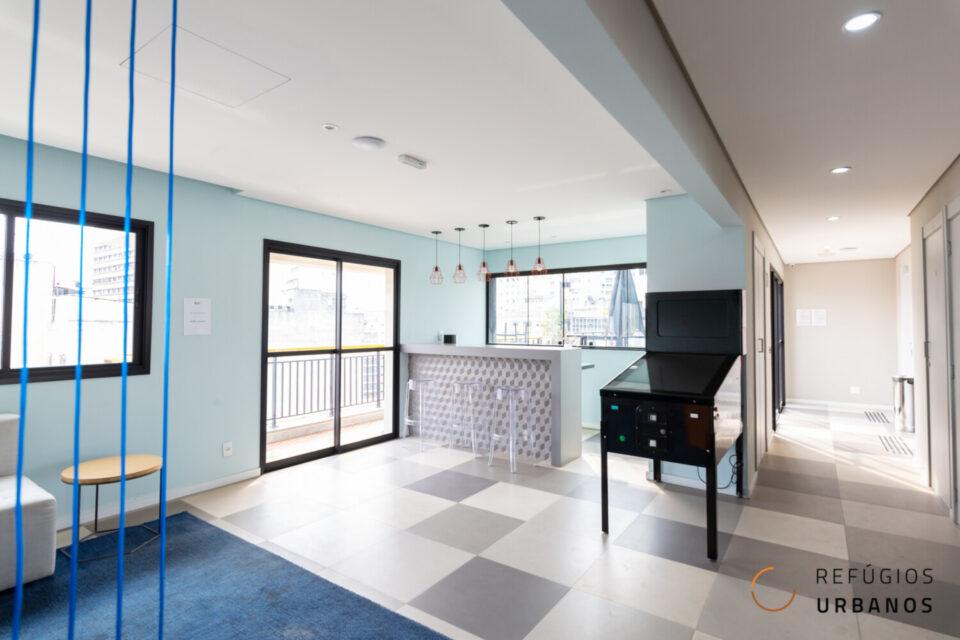 Campos Eliseos: Excelente studio no Smart Santa Cecília com 26m2, novinho e com varanda, em prédio com infraestrutura de lazer completa.